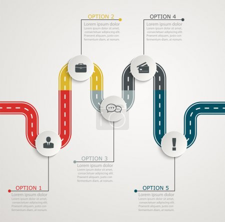 Colorful road infographic timeline with icons, stepwise horizont