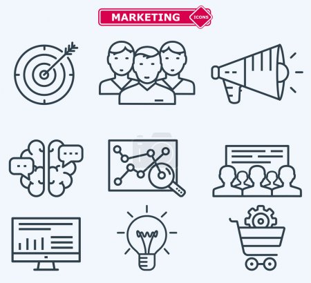 Marketing flat  line icons. Training, development, planning, goa