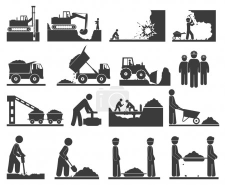 Сonstruction earthworks icons mining and quarrying coal, oil