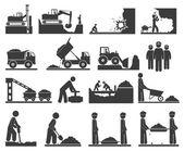 Сonstruction earthworks icons mining and quarrying coal oil