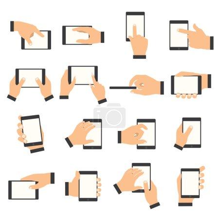 Illustration pour Geste de la main sur l'écran tactile. Mains tenant un smartphone ou d'autres appareils numériques . - image libre de droit