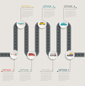 Road infographic stepwise structure with transportation icons