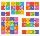 Parts of puzzles on white background in colored colors Set of puzzle 2 3 4 6 8 9 16 pieces
