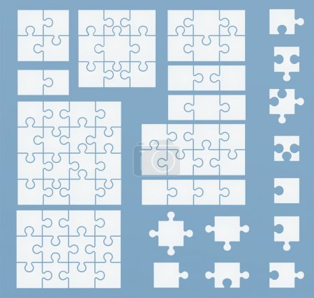 Parts of puzzles on blue template. Set of puzzle 2, 3, 4, 6, 8,