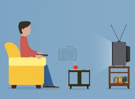 Man watching old television on sofa