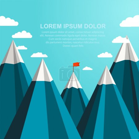 Illustration for Landscape with red flag on the top of mountains in the distance. Leadership concept - Royalty Free Image