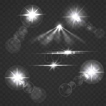 Glowing light effect stars and flashes on transparent background