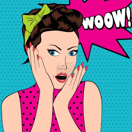 Surprised woman in pop art style with Wow sign.