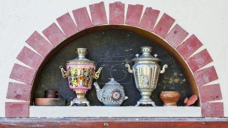 Russian decorative oven and samovars
