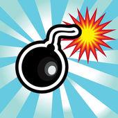 Nebezpečí výbuchu bomby v žluté a černé pozadí