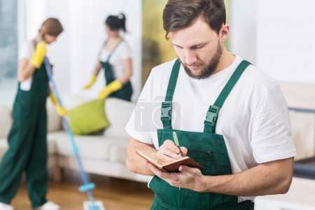 Busy boss and his cleaning company