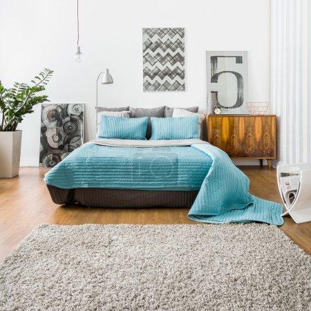 Photo pour Image d'une zone de couchage spacieuse avec lit double - image libre de droit