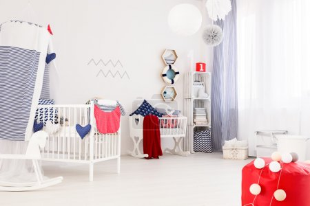 Marine decor of a modern baby room