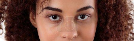 Foto de Panorama de primer plano de una mujer joven de piel oscura mirando intensamente a la cámara - Imagen libre de derechos