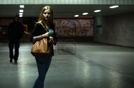 Photo for Danger in the underpass at night, horizontal - Royalty Free Image