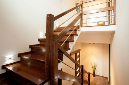 Photo for Horizontal view of wooden stairs at home - Royalty Free Image