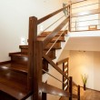 Horizontal view of wooden stairs at home...