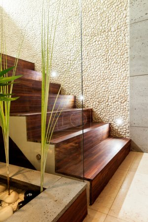 Wooden stairs in luxury apartment