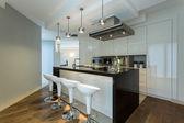 Moderní kuchyně s designovými židlemi
