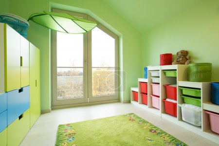 Room with green painted walls
