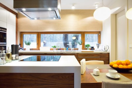 Photo for Horizontal view of luxury kitchen with modern equipment - Royalty Free Image