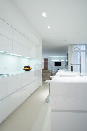 Photo pour Cuisine pure et moderne à l'intérieur de l'appartement cher, vertical - image libre de droit