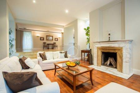 Photo pour Vue du salon avec une cheminée classique - image libre de droit