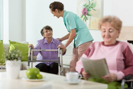 Photo pour Disabled senior women staying in care home - image libre de droit