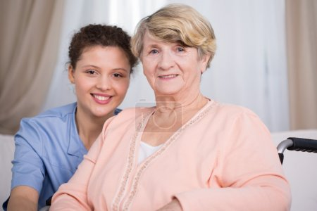 Senior woman and young nurse