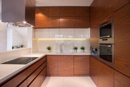 Photo pour Wooden kitchen cabinet in luxury elegant interior - image libre de droit