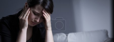 Photo for Despair crying widow woman wearing mourning clothes - Royalty Free Image