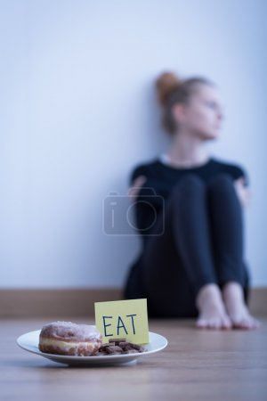 Photo for Image of young anorexic girl refusing to eat - Royalty Free Image