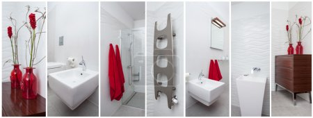 Bathroom with red decorations