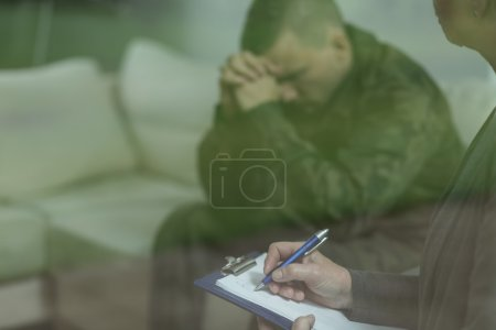 Soldier during therapy of depression