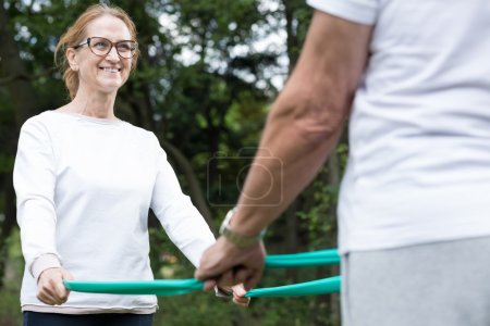 Wife and husband during workout