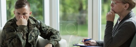 Photo for Soldier with war trauma visiting a professional therapist - Royalty Free Image