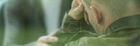 Photo for Soldier suffering from emotional breakdown and depression after war - Royalty Free Image