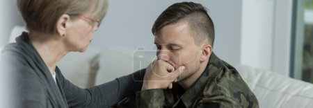 Photo for Soldier suffering from postraumatic stress disorder seeing a specialist - Royalty Free Image