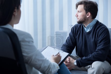 Photo for Image of young man during psychological therapy - Royalty Free Image
