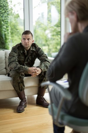 Photo for Image of soldier with posttraumatic stress disorder during therapy - Royalty Free Image