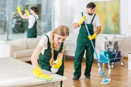 Photo for Cleaning service with professional equipment during work - Royalty Free Image