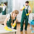 Cleaning service with professional equipment durin...