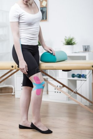 Girl with sprained knee