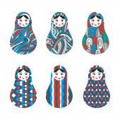 Set of russian traditional wooden toys babushka matryoshka simple USSR elements Vector illustration Geometric ornaments are under clipping masks Retro doll design background Kids theme