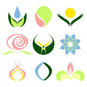 Set of nine abstract designs Floral logos