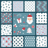 Set of retro style Christmas patterns Winter background Endless textures in blue and red colors Vector illustration Santa Claus and other traditional symbols