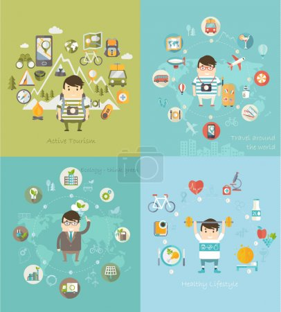 Illustration for Modern vector illustration icons set in flat style of traveling, planning vacation, natural resources, ecology, healthy lifestyle. - Royalty Free Image