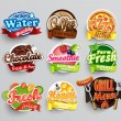 Set of stickers of food - farm fresh,pizza, fresh ...