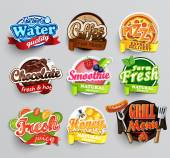 Set of stickers of food