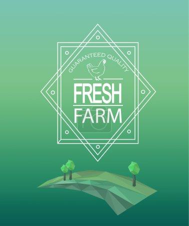 Farm fresh logotype in outline style